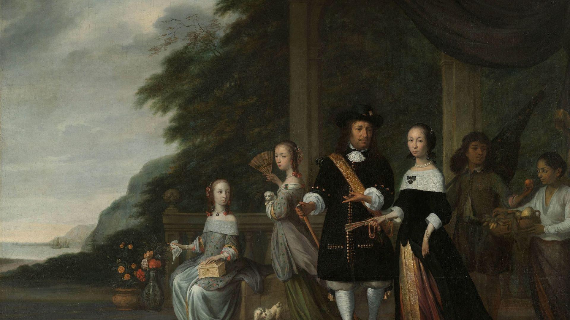Pieter Cnoll, Cornelia van Nijenrode, hun dochters en twee tot slaaf gemaakte bedienden